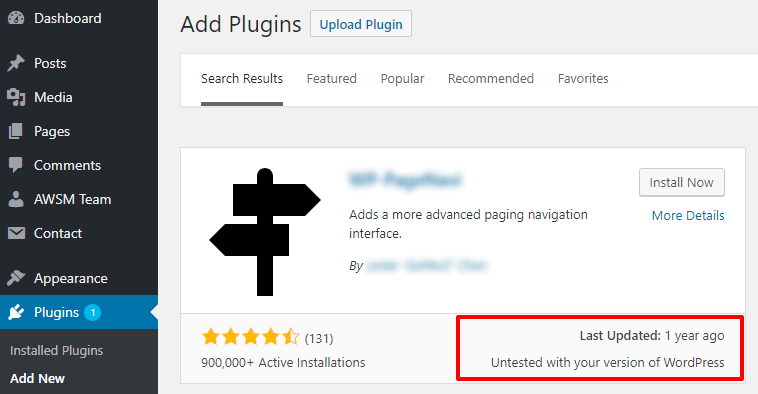 Plugin not tested with your wordpress version