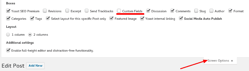 Custom Fields Option