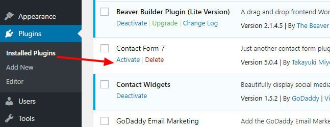 activate installed plugin