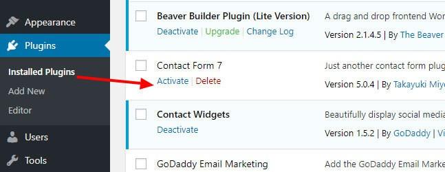 activate installed plugin