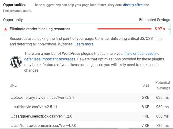 Render-Blocking JavaScript and CSS Google PageSpeed insights