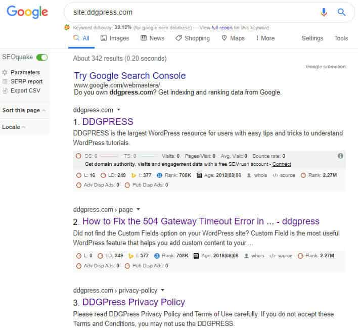 indexed by search engine results