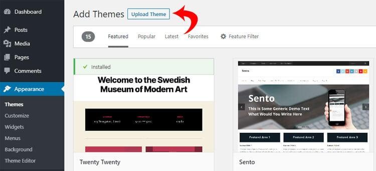 Upload theme button