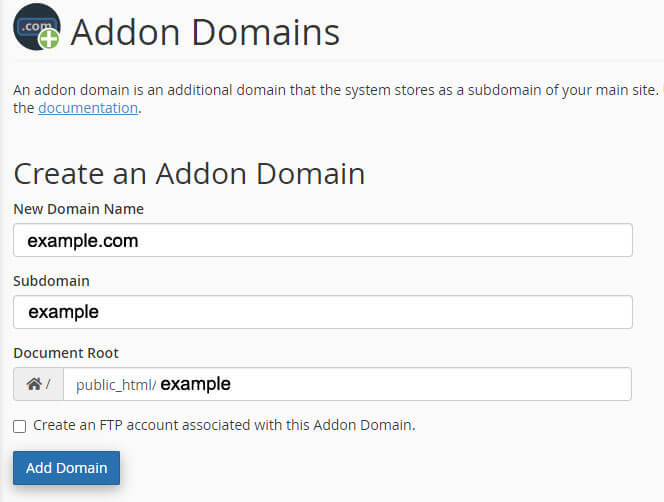Addon Domains fields
