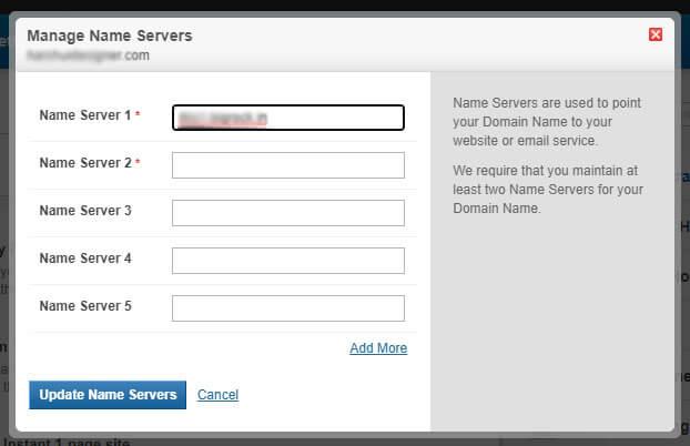 Update Name Servers detail