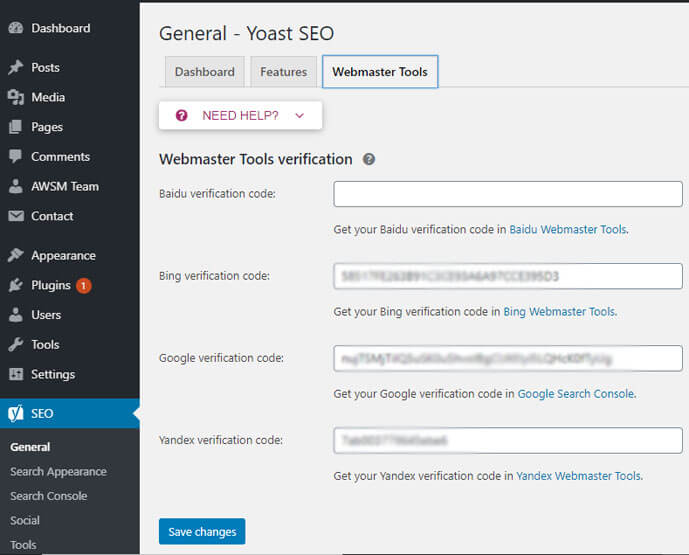 Yoast seo webmaster tools setting